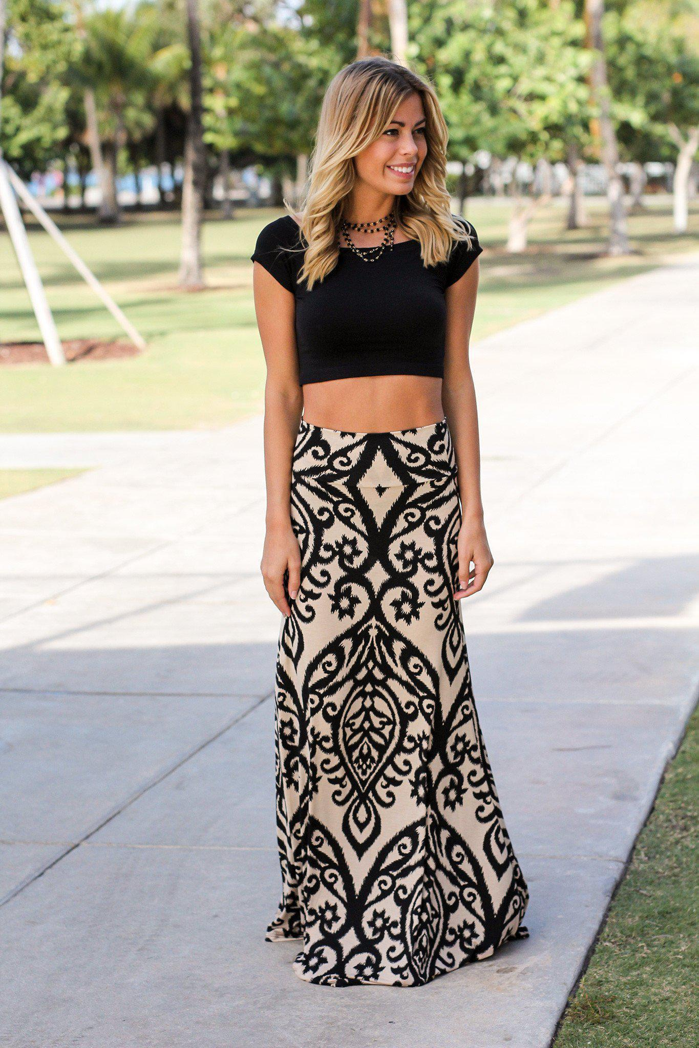 5f83bd6fd3c3 Black and Taupe Printed Maxi Skirt from Saved By The Dress
