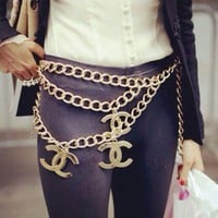Chanel Women Fashion Letters Metal Chain Wild Belt Waist Chain