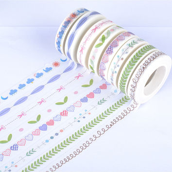 0.8cm*10m fresh split line washi tape DIY decoration scrapbooking planner masking tape adhesive tape kawaii stationery