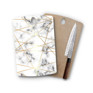 Geometric White Gray Charcoal Faux Gold Marble Agate Classic Rectangle Cutting Board Trendy Unique Home Decor Cheese Board