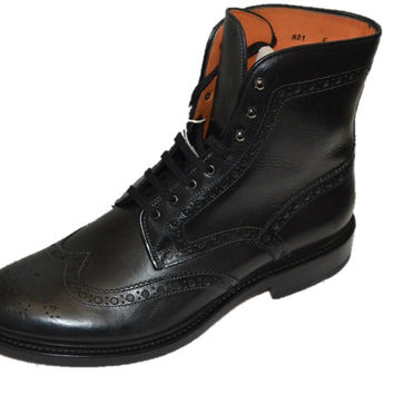 Santoni Black Leather Wingtip Mens Ankle Boots