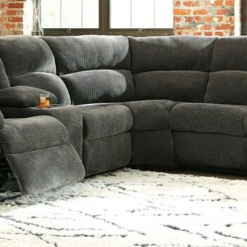 2 pc Timpson collection slate fabric upholstered sectional sofa set with recliners on the ends