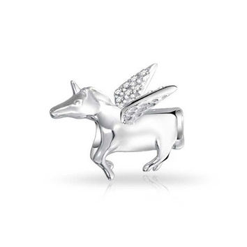 Bling Jewelry 925 Sterling Silver Pegasus CZ Winged Horse Unicorn Charm Fits Pandora