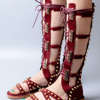 Burgundy Stud Detail Flat Gladiator Knee High Tie Up Sandals