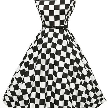 Atomic 1950's Rockabilly Black and White Checkered Dress