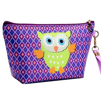 Owl Make Up Bag Waterproof Cosmetic Storage Pouch Travel Wash Bag with Handle for Women