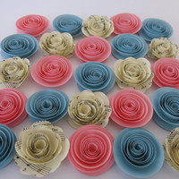 "Neutral baby Shower Decorations, 25 Pink & Blue paper flowers and sheet music roses, 1.5"" rosettes, Gender reveal theme shower Nursery decor"