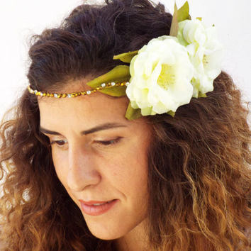 White bridal flower crown, Gold crystal Headband, Wedding Headpiece,  Greek Goddess ,Wedding Hair Wreath