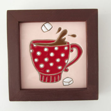 Ceramic Tile In Wood Frame Ready To Hang Wall Art Coffee Tea Tim