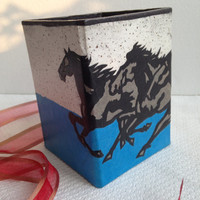 Horse Hanji Pen Holder OOAK Handmade Pencil Case for Desktop
