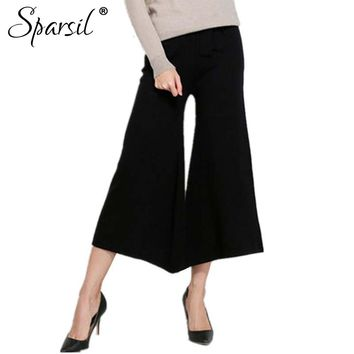 Women's Autumn Cashmere Knitted Ankle-Length Pant Regular Spring Elegant Lady Slim Style Flare Pants