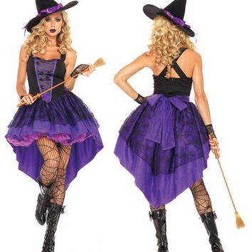 Sexy Adult Witch Costume Halloween Witch Dress Sexy Costumes For Women Halloween Christmas Costume Long Purple Swallowtail Dress