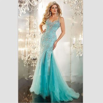 2015 Sexy Halter Mermaid Prom Dresses Cross Back V Neck Beaded Long Evening Dress Custom Vestidos De Festa Vestido Longo