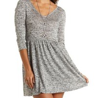 Marled Sweater Knit Babydoll Dress - Med. Gray Heather