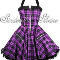 Hell Bunny Purple Zipper Dress