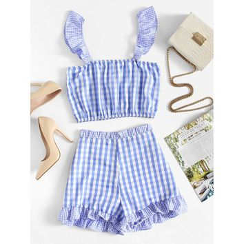 Ruffle Trim Gingham Crop Top With Shorts