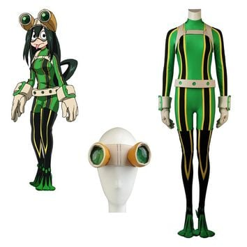Cool Cosplaydiy Anime My Hero Academia Boku no Hero Academia Tsuyu Asui Cosplay Costume With Glasses L320AT_93_12