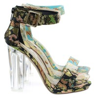 Cargo Black Phoenix Lucite Perspex Clear Block Heel Sandal, Oriental Stitch Embroidery
