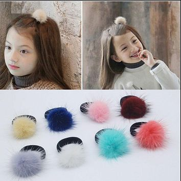 Korean Artificial marten hair Ball Elastic Hair Band Ponytail Holder Girl Hair Clip Headband Hair Accessories Gift Free shipping