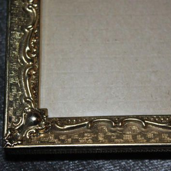 Vintage gold 11x14 metal picture frame, large picture frame, gold decor, ornate picture frame