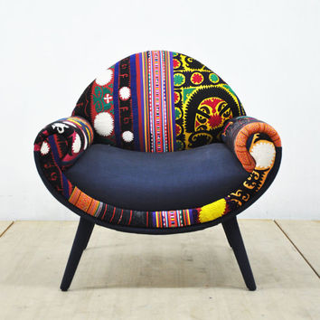 Smiley patchwork armchair - blue sky
