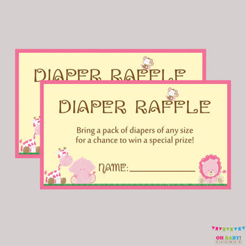 Girl Safari Baby Shower Diaper Raffle Ticket Cards and Diaper Raffle Sign Printable Instant Download - Pink Safari Raffle Tickets  BS0001-P