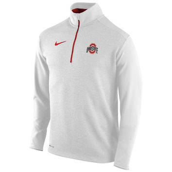 Ohio State Buckeyes Nike Football Coaches Sideline Half Zip Knit Performance Jacket – White