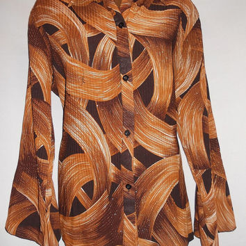 Vintage 70s 80s Sparkly Brown Button Up Blouse Abstract All Over Print Psychedelic Freeman Pointed Collar Sleeve Threads