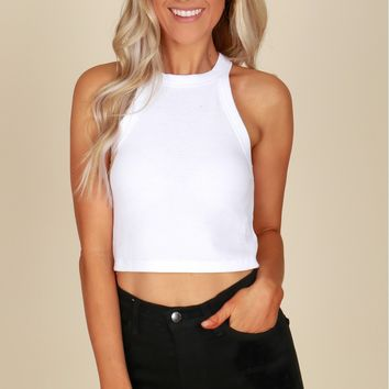 Ribbed Halter Top White