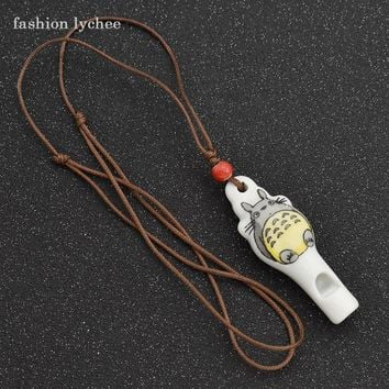 fashion lychee Lovely Cartoon Totoro My Neighbor Whistle Pendant Necklace For Kids Cosplay Jewelry Accessories