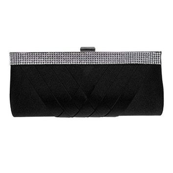 Fashion road Evening Clutch Womens Elegant Silk Rhinestone Clutch Purses Handbag for Wedding amp Party