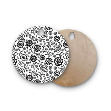"""Nicole Ketchum """"Cherry Floral White"""" Round Wooden Cutting Board"""