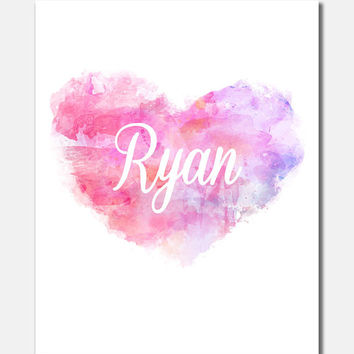 Ryan, Heart, Canvas Print, Baby Name Poster, Girl Nursery Print, Name Tags, Birth Stats, Animal Art, Custom Wall Art [G14G112C]