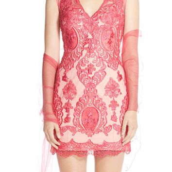 Women's JVN by Jovani Embroidered Mesh Minidress,