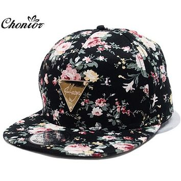 Cool 2016 New Fashion Floral Adjustable Casquette Snapback Caps Women Hip Hop Hat Sunhat Baseball Cap
