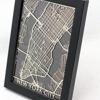 Stainless Steel New York City Cut Map
