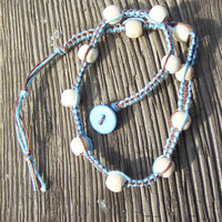 Brown and Light Blue Double Wrap Hemp Bracelet