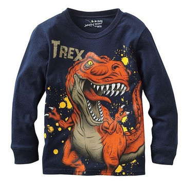 Autumn Boys T-shirt Cotton Long Sleeve O-neck Dinosaurs Print Shirts = 1930269764