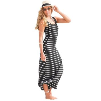 Women Sleeveless Striped Loose Long Dress Beach Party   Sundress