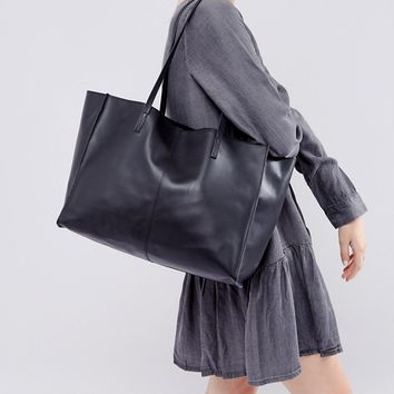 ASOS Leather Shopper Bag With Removable Clutch at asos.com