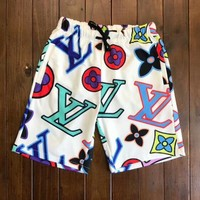 LV Fashion Women Men Casual Print Sport Running Shorts White I-AA-XDD