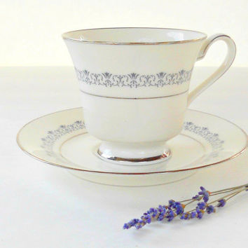 Vintage Noritake Geri Footed Tea Cup and Saucer, Tea Parties, Weddings, Elegant, Sophisticated, Bridesmaid Inspired Gifts