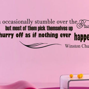 Vinyl Wall Decals Quotes Sticker Home Decor Art Mural Men occasionally stumble over the truth Winston Churchill Z247