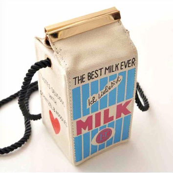 Pastel Pink or Blue Milk Box Carton Purse / Bag (Kawaii, Alternative, Retro)