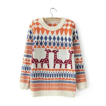 Girls cute pullover knitting jumper women 2018 ugly christmas sweater with deer and geometric pattern