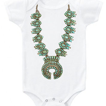 Native American turquoise squash blossom necklace graphic tee or baby bodysuit Onesuit Old Pawn Bohemian girls infant newborn kids tee top