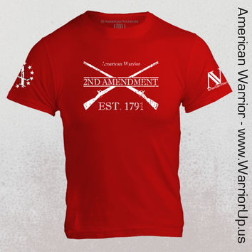 Second Amendment w Gadsden Snake - Red - Mens T Shirt