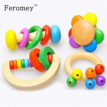 4PCS/set Wooden Bell Rattle Toy Baby Handbell Musical Educational Instrument Rattles For Toddlers Babies juguetes bebes