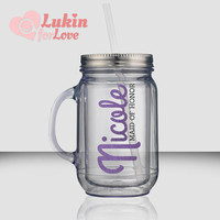 3 Glitter Bridal Party Tumblers - 18 oz Mason Jar Style / Bridesmaid Gift / Wedding Tumblers / Personalized Tumbler / Bridesmaid Cups