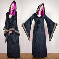 long black hooded dress / medieval fantasy dress / elven tunic / black gothic dress
